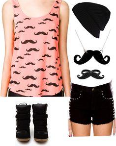 """ze mustache fashion"" by diamond50000 ❤ liked on Polyvore"