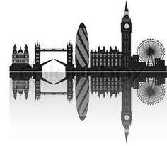 Illustration of london city skyline vector art, clipart and stock vectors. London Logo, London Art, London Skyline Silhouette, London Tattoo, London Landmarks, City Aesthetic, Portrait, Pop Art, Street Art