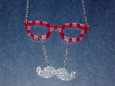 Red Stripe Plaid Eyeglasses with Silver by VintageBellissima, $18.00