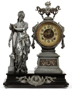 Lot: ANSONIA FIGURAL MANTLE CLOCK 19TH.C., Lot Number: 040136, Starting Bid: $150, Auctioneer: DuMouchelles, Auction: Decorative Art, Asian Art, Jewelry, Furniture, Date: April 8th, 2017 EEST