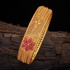 Designer Silver Temple Bangle studded with synthetic spinal stones #bangle #temple #jewellery #kushalsfashionjewellery