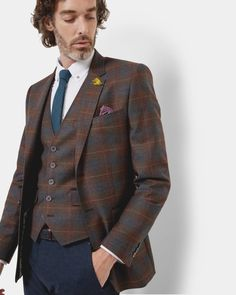 SHOP AW16: Expertly constructed in wool and adorned with a striking check, Ted's suave layer is sure to make maximum impact.
