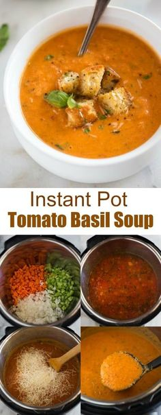 You must eat this Instant Pot Tomato Basil Soup With Parmesan . - recipe - You must eat this Instant Pot Tomato Basil Soup With Parmesan . B'cause it's super Delectable. Instant Pot Dinner Recipes, Healthy Soup Recipes, Vegetarian Recipes, Keto Recipes, Vegetarian Soup, Instant Pot Meals, Instapot Soup Recipes, Instant Pot Veggies, Quark Recipes