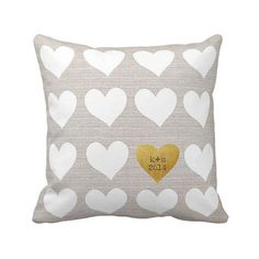 Personalized Gold Heart Pillow Cover...choose your initials and date by Jolie Marche