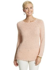 I'll be wearing this with Chico's winter white knit pants or dark gray travellers pants for informal nights on my Silversea South Pacific Cruise. Chico's Sequin Shine Claire Pullover Sweater #chicos