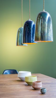 Moonlight Pendant Lamps provide unique lighting to a space, designed by Lyngard Ceramics for the The Conran Shop, London
