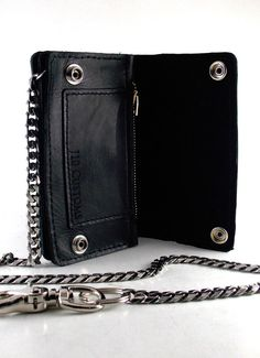 Handmade Biker chain blue black braided leather Trucker wallets made in USA