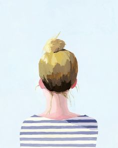 """""""Hair art"""" by Elizabeth Mayville, gouache painting of a woman with a top knot. Graffiti Artwork, 3d Fantasy, Hair Art, Painting & Drawing, Gouache Painting, Art Paintings, Simple Paintings, Art Drawings, Art Photography"""