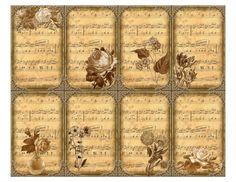 Sheet muzieknoten oude rozen | Teksten & Spreuken | Nostalgie & Brocante