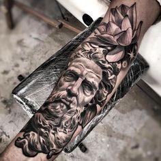Amazing Artist Lil B Hernandez Renaissance Statue with Lotus Forearm Tattoo God Tattoos, Badass Tattoos, Body Art Tattoos, Tattoos For Guys, Sleeve Tattoos, Lil B Tattoo, Zeus Tattoo, Statue Tattoo, Gray Tattoo