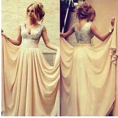 ASDRESS Champagne Bridesmaid Dresses V-neck floor length bridal party dress chiffon Evening Dresses Hand-Crease