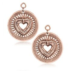 "Nikki Lissoni Rose-Tone Heart Will Protect Earring Coins - Nikki Lissoni Rose-Tone Heart Will Protect Earring Coins attach to and dangle from the Nikki Lissoni post hoop earrings, shown on the Related Products tab (where you'll also find the matching coins for the bracelets and pendants!) This dangling coin is the larger size, measuring approx. 7/8"" in diameter."