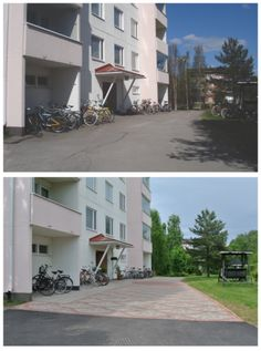 Taloyhtiön pihan perusparannuksen suunnittelu - Planning a apartment house courtyard Garage Doors, Gardens, Building, Outdoor Decor, House, Home Decor, Decoration Home, Home, Room Decor