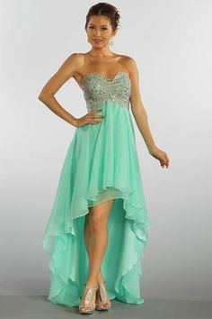 Beaded High Low Chiffon Prom Dress in Mint. This with boots:)