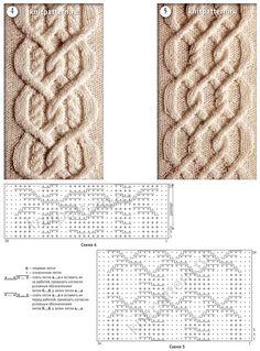 Образцы рельефных полос со сложным перекрещиванием со схемами для вязания на спицах. Страница 142.