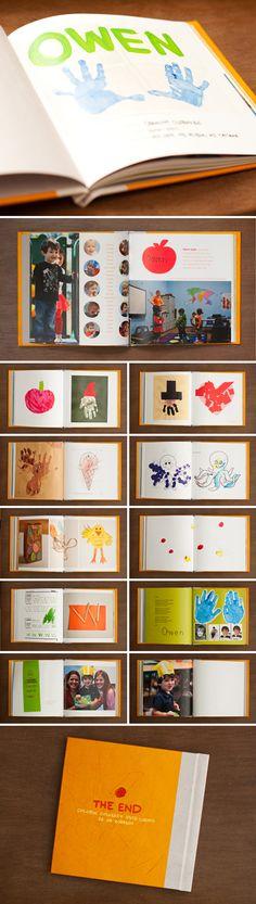 Scanne alle Fotos und Bilder, Zeichnungen und Gebasteltes von den Kindern in der Schule und gestalte ein Buch daraus.
