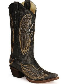 would LOVE LOVE LOVEE to win these amazingly beautiful pair of Corral Women's Distressed Black Winged Cross Golden Inlay boots from countryoutfitter.com where I can show them off around the town! check their website out for some of the prettiest boots in the south for some of the best prices!!! :) <3