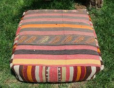 Handmade Vintage Big Size Pillow / Pouf Covered with Anatolian Multicolor Kilim  #Tribal