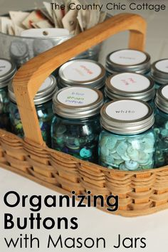 Craft Room Organization Ideas - Mason Jar Button Organizer - DIY Dollar Store Projects for Crafts - Budget Ways to Declutter While Organizing Supplies - Shelves IKEA Hacks Small Space Ideas Craft Room Storage, Craft Organization, Organizing Ideas, Craft Rooms, Organising, Space Crafts, Decor Crafts, Diy Crafts, Mason Jar Crafts