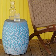 Mosaic Tiled Drum Side Table