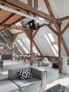 Open and spacious loft designed for a bachelor in Poland