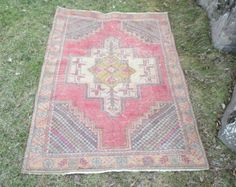 Turkish Oushak Rug Vintage Rug Anatolian Oushak Rug Kilim Rug Pile Rug Pink Rug 68 x 40 inches Organic Wool 100%