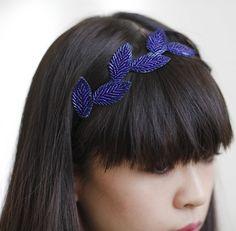 Blue beaded headband.