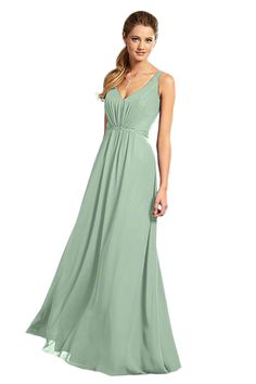 Alfred Angelo 7366 L Bridesmaid Dress in Sage Green in Chiffon