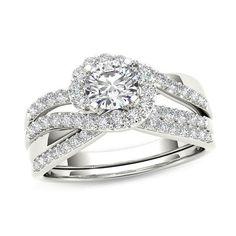 #Valentines #AdoreWe #Zales - #Zales 1 CT. T.w. Diamond Swirl Bypass Bridal Set in 14K White Gold - AdoreWe.com