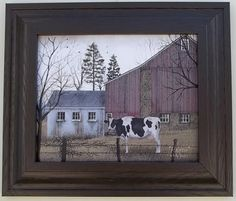 """""""Holstein"""" Red Barn by Billy Jacobs Framed Country Print 9 1 2"""" x 13 1 2"""" 