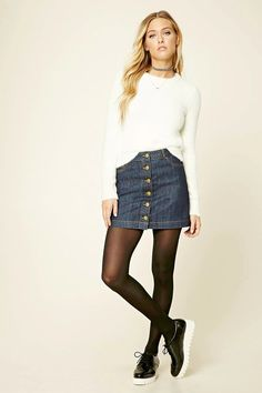 Forever 21 Contemporary - A denim mini skirt featuring a button front, three-pocket construction, and belt loops.
