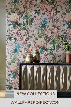Feature Wallpaper Living Room, Pink Wallpaper Bedroom, Blush Pink Wallpaper, Bird Wallpaper, Painting Wallpaper, Home Wallpaper, Wallpaper Ideas, Home Decor Colors, Colorful Decor