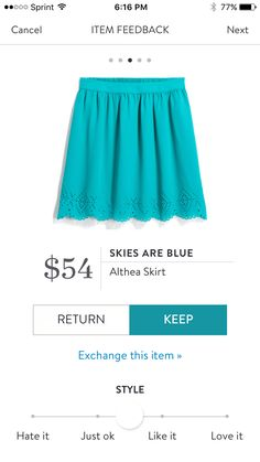 Dear Stylist, I like the shape, elastic waistband, and bottom detail of this skirt.