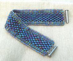 blue 1920's Art Deco vintage style bead woven cuff bracelet.
