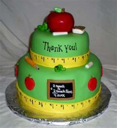 Teacher Appreciation Cake Two-tiered cake covered in fondant. Accessories handmade out of fondant, writing done with roeal icing and edible. Teachers Day Cake, Teacher Cakes, Teacher Treats, Teacher Stuff, Teacher Gifts, Fondant Cakes, Cupcake Cakes, Wilton Cakes, Beautiful Cakes