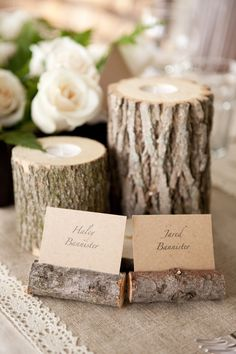 Rustic centerpiece (Kelly Sweet Photography)- Craig and I are doing the candle holder idea, maybe we should steal the idea for name holders, too!