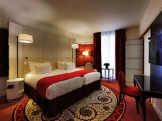 Romantic and dramatic: The lovely renovated rooms at the Carlton Lyon Hotel in Lyon, France.