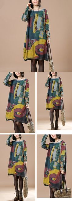 BUYKUD-THE TOP TREND SERIES:Abstract pattern Printed retro long sleeve dress