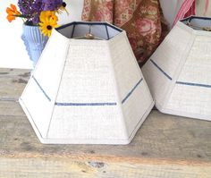 """Vintage Grain Sack Lamp Shade, Lampshade Natural Grain Sack with Blue Stripe 6""""x14""""x9"""" hex washer, table lampshade - French Cottage by lampshadelady on Etsy"""