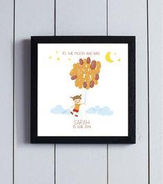 Cuadro huellas nacimiento globo familia bebé niña / pdf /. #Babyshower #regalo #familia #bautizo #cuadro #nacimiento #bebé #baby #family #babyshowergift #itsaboy #itsagirl #print #download #fingerprint #niña #girl