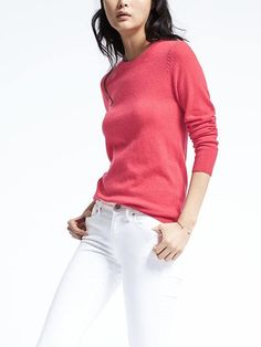 Banana Republic, Italian Cashmere Blend Rope Trip pullover, taupe, watermelon, neon violet, navy, cocoon