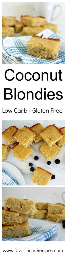 Low carb & gluten free coconut blondies. Baked with coconut flour, these are moist and tasty.