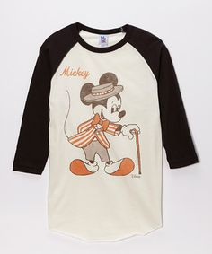 Another great find on #zulily! Black & White Vintage 'Mickey' Raglan Tee - Men by Mickey Mouse #zulilyfinds