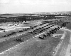 Halifax tugs and Horsa gliders waiting at RAF Tarrant Rushton, 5th June 1944.