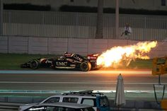 Pastor Maldonado's Lotus retires with an engine fire, Abu Dhabi Grand Prix Pastor Maldonado, Ricciardo F1, Abu Dhabi Grand Prix, Formula 1, Fire, Lotus, Engine, Sport, Website