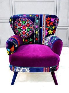 Patchwork armchair with Suzani fabrics from name design studio. Funky Furniture, Colorful Furniture, Painted Furniture, Furniture Design, Purple Furniture, Bohemian Furniture, Colorful Chairs, Furniture Chairs, Coaster Furniture