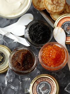 Caviar Adventure from California Caviar Company [includes Bourbon infused Trout roe, truffle infused Whitefish roe, Hackleback caviar, 30 blinis, crème fraiche, serving spoons and a cooler]