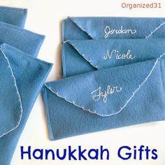 Make DIY Felt Gift  Envelopes to give gelt as Hanukkah gifts.