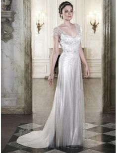 Robes de mariée en satin dos nu sexy avec des perles pailletés cristal