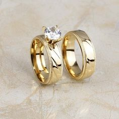 18K Gold Plated Stainless Steel Cz Crystal Wedding Band Ring Set Pair Size 7-10